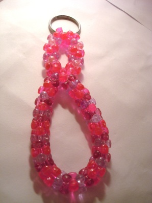 $4.50 Multicolor Pink Beaded Keychain for Sale